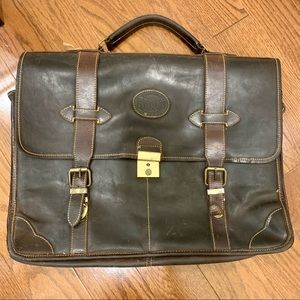Vintage Roots brown leather briefcase